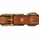 shop 3/4 in. K-9 Komfort Deluxe Leather Center Ring Puppy/Small Breed Collar Back of buckle Detail