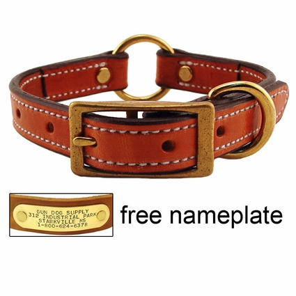 3/4 in. K-9 Komfort Deluxe Leather Center Ring Puppy / Small Breed Collar