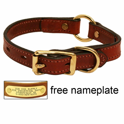 3/4 in. Mendota Hunt Dog Leather Center-Ring Safety Puppy / Small Dog Collar