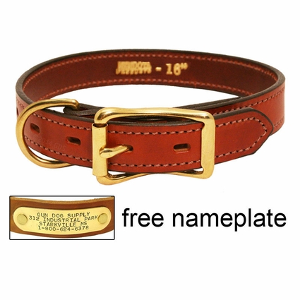 3/4 in. Mendota Hunt Dog Leather D-End Puppy / Small Dog Collar