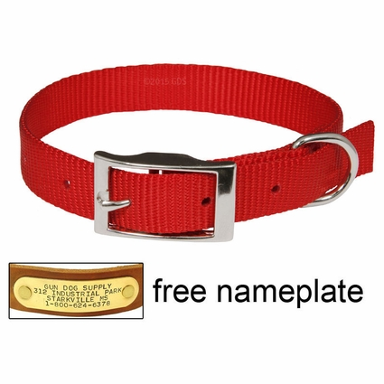 "3/4"" Red OmniPet Single Ply Stitched Nylon Collar"