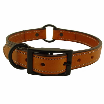 CLEARANCE -- 29NS SIZE ONLY 1 in. K-9 Komfort Deluxe Leather Center Ring Collar