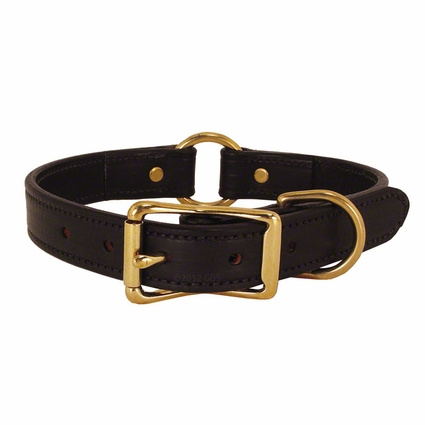 CLEARANCE -- BLACK 1 in. K-9 Komfort Deluxe Leather Center Ring Collar