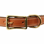 shop Deluxe Leather Dog Collar Front of Buckle Detail
