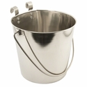 Flat Sided Water Bucket with Riveted Hooks - 6 Quart