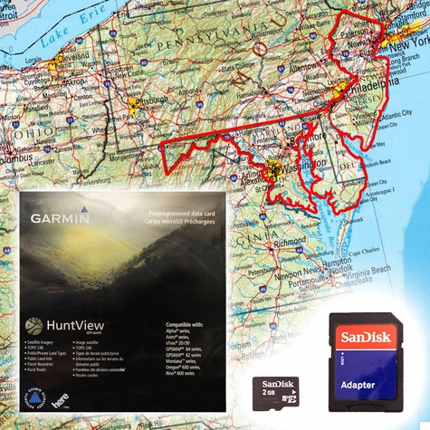 Garmin HuntView Map Card - Delaware, Maryland, New Jersey, and Washington D.C.