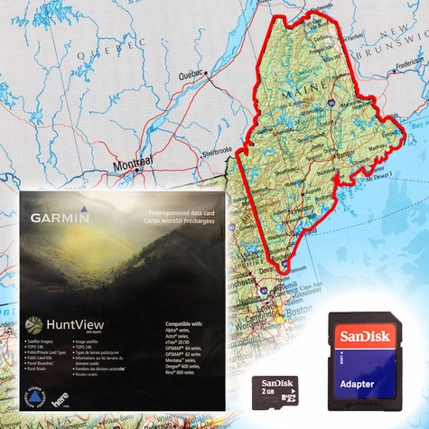 Garmin HuntView Map Card - Maine