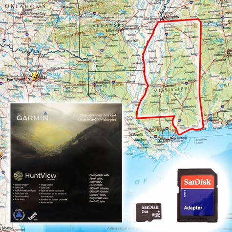 Garmin HuntView Map Card - Mississippi