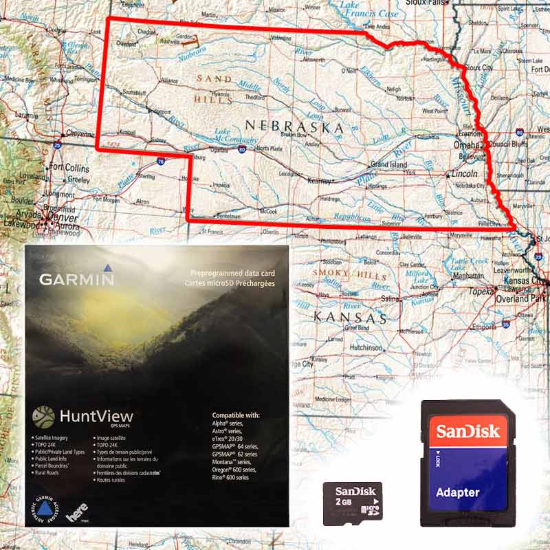 Garmin HuntView Map Card Nebraska - Nebr map