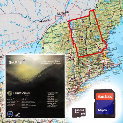 Garmin HuntView Map Card - New Hampshire and Vermont
