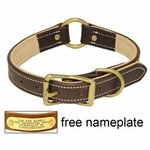 shop K-9 Komfort 1 in. Premium Deluxe Leather Center Ring Collar -- Brown Latigo with Light Buffalo Liner