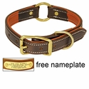 K-9 Komfort 1 in. Premium Deluxe Leather Center Ring Collar -- Brown Latigo with Rust Cowhide Liner