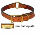 K-9 Komfort 1 in. Premium Deluxe Leather Center Ring Collar -- Tan Skirting with Burgundy Latigo Liner