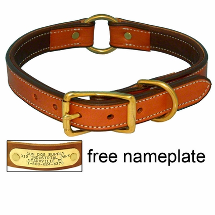 K-9 Komfort 1 in. Premium Deluxe Leather Center Ring Collar -- Tan Skirting with Dark Brown Buffalo Liner
