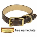 buy discount  K-9 Komfort 1 in. Premium Deluxe Leather Standard Collar -- Brown Latigo with Light Buffalo Liner