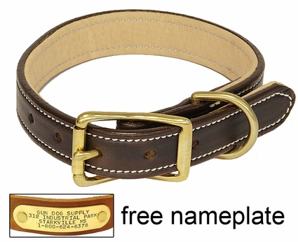 K-9 Komfort 1 in. Premium Deluxe Leather Standard Collar -- Brown Latigo with Light Buffalo Liner
