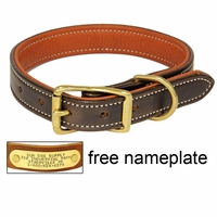 buy discount  K-9 Komfort 1 in. Premium Deluxe Leather Standard Collar -- Brown Latigo with Rust Cowhide Liner