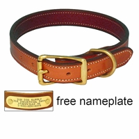 buy discount  K-9 Komfort 1 in. Premium Deluxe Leather Standard Collar --  Tan Skirting with Burgundy Latigo Liner