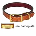 buy discount  CLEARANCE -- K-9 Komfort 1 in. Premium Deluxe Leather Standard Collar -- Tan Skirting with Burgundy Latigo Liner