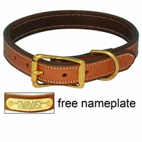 buy discount  K-9 Komfort 1in. Premium Deluxe Leather Standard Collar -- Tan Skirting with Dark Brown Buffalo Liner