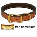 K-9 Komfort 1in. Premium Deluxe Leather Standard Collar -- Tan Skirting with Dark Brown Buffalo Liner