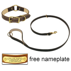 shop K-9 Komfort Premium Deluxe 3/4 in. x 4 1/2 ft. Leash and 1 in. Center Ring Collar -- Brown Latigo with Light Buffalo Liner