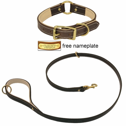 K-9 Komfort Premium Deluxe 3/4 in. x 4 1/2 ft. Leash and 1 in. Center Ring Collar -- Brown Latigo with Light Buffalo Liner