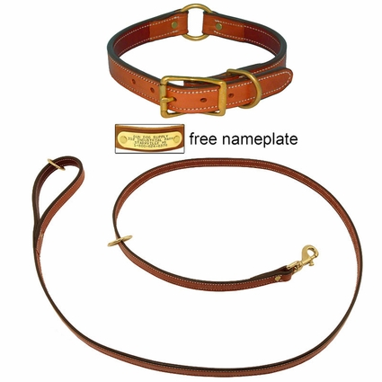 K-9 Komfort Premium Deluxe 3/4 in. x 6 1/2 ft. Leash and 1 in. Center Ring Collar -- Tan Skirting with Burgundy Latigo Liner