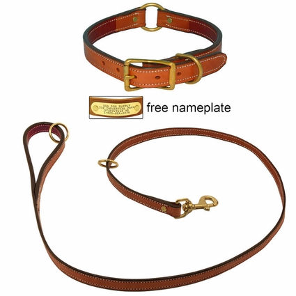 K-9 Komfort Premium Deluxe 3/4 in. x 4 1/2 ft. Leash and 1 in. Center Ring Collar -- Dark Tan Skirting with Burgundy Latigo Liner