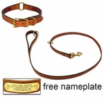 shop K-9 Komfort Premium Deluxe 3/4 in. x 4 1/2 ft. Leash and 1 in. Center Ring Collar -- Dark Tan Skirting with Burgundy Latigo Liner