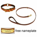 buy discount  K-9 Komfort Premium Deluxe 3/4 in. x 4 1/2 ft. Leash and 1 in. Center Ring Collar -- Tan Skirting with Dark Brown Buffalo Liner