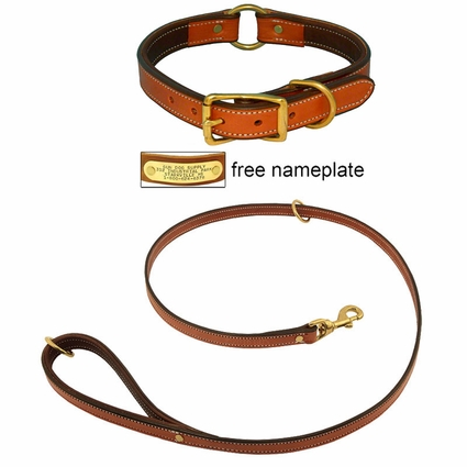 K-9 Komfort Premium Deluxe 3/4 in. x 4 1/2 ft. Leash and 1 in. Center Ring Collar -- Tan Skirting with Dark Brown Buffalo Liner
