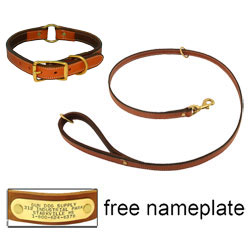shop K-9 Komfort Premium Deluxe 3/4 in. x 4 1/2 ft. Leash and 1 in. Center Ring Collar -- Tan Skirting with Dark Brown Buffalo Liner