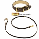 K-9 Komfort Premium Deluxe 3/4 in. x 6 1/2 ft. Leash and 1 in. Standard Collar -- Brown Latigo with Light Buffalo Liner