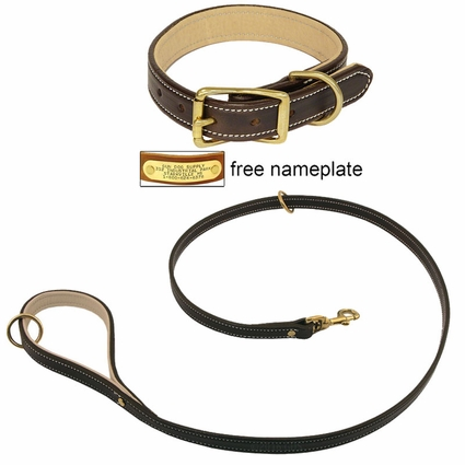K-9 Komfort Premium Deluxe 3/4 in. x 4 1/2 ft. Leash and 1 in. Standard Collar -- Brown Latigo with Light Buffalo Liner