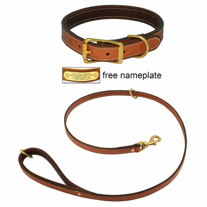 K-9 Komfort Premium Deluxe 3/4 in. x 4 1/2 ft. Leash and 1 in. Standard Collar -- Tan Skirting with Dark Brown Buffalo Liner