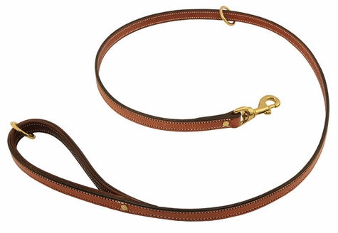 K-9 Komfort Premium Deluxe 3/4 in. x 4 1/2 ft. Leash -- Tan Skirting with Dark Brown Buffalo Lined Handle