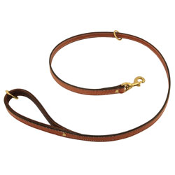 shop K-9 Komfort Premium Deluxe 3/4 in. x 4 1/2 ft. Leash -- Tan Skirting with Dark Brown Buffalo Lined Handle