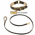 K-9 Komfort Premium Deluxe 3/4 in. x 6 1/2 ft. Leash and 1 in. Center Ring Collar -- Brown Latigo with Light Buffalo Liner