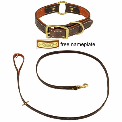 K-9 Komfort Premium Deluxe 3/4 in. x 6 1/2 ft. Leash and 1 in. Center Ring Collar -- Brown Latigo with Rust Cowhide Liner