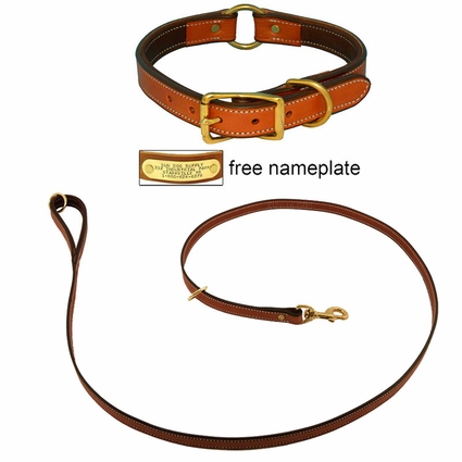 K-9 Komfort Premium Deluxe 3/4 in. x 6 1/2 ft. Leash and 1 in. Center Ring Collar -- Tan Skirting with Dark Brown Buffalo Liner