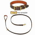 K-9 Komfort Premium Deluxe 3/4 in. x 6 1/2 ft. Leash and 1 in. Standard Collar -- Brown Latigo with Rust Cowhide Liner