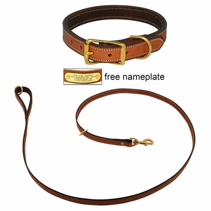 K-9 Komfort Premium Deluxe 3/4 in. x 6 1/2 ft. Leash and 1 in. Standard Collar -- Tan Skirting with Dark Brown Buffalo Liner