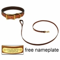 buy discount  K-9 Komfort Premium Deluxe 3/4 in. x 6 1/2 ft. Leash and 1 in. Standard Collar -- Tan Skirting with Dark Brown Buffalo Liner