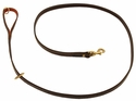 K-9 Komfort Premium Deluxe 3/4 in. x 6 1/2 ft. Leash -- Brown Latigo with Rust Cowhide Lined Handle