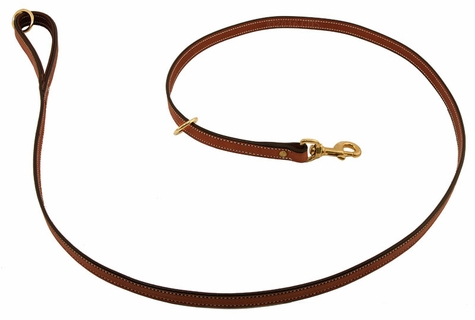 K-9 Komfort Premium Deluxe 3/4 in. x 6 1/2 ft. Leash -- Tan Skirting with Dark Brown Buffalo Lined Handle