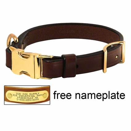 K-9 Komfort Adjustable Quick Release 3/4 in. Leather Collar