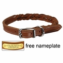 TOBACCO BROWN K-9 Komfort 3/4 in. Woven Leather Dog Collar