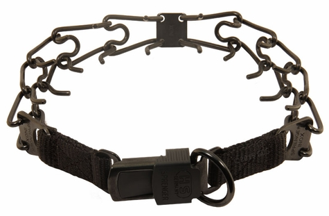 LARGE BLACK Herm Sprenger Stainless Steel Pinch Collar with Security Buckle #50057