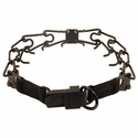 buy discount  LARGE BLACK Herm Sprenger Stainless Steel Pinch Collar with Security Buckle #50057